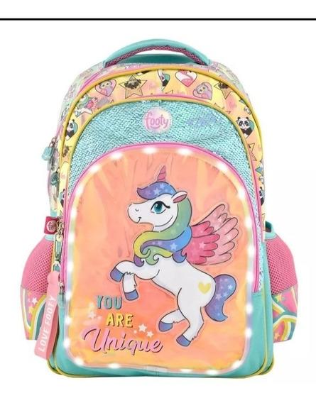 Mochilas Footy Nena Unicornio Unique C/luz Y Lentejuelas 18
