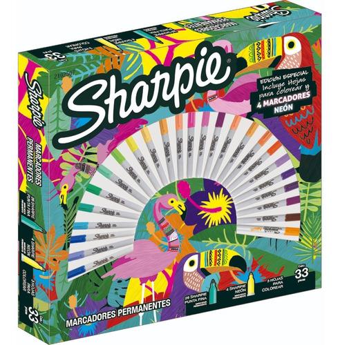 Imagen 1 de 7 de Marcadores Sharpie Ruleta Tropical X30 -fibra-arte-escolar