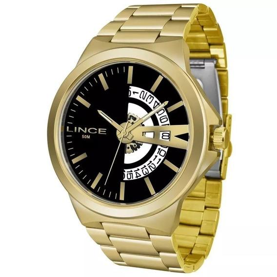 Relógio Lince Masculino Ref: Mrg4575s P1kx Casual Dourado