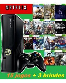 Videogame Xbox 360 Slim Joga On Line + 15 Jogos + Bateria