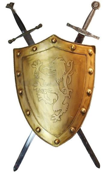 Escudo Templário Cruzadas Real Em Aço Exclusivo Duas Espadas