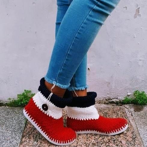 Botas Tejidas A Crochet Con Suela De Pvc
