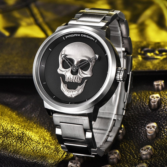 Relógio Pagani Design Masculino 3d Skull Crânio Caveira
