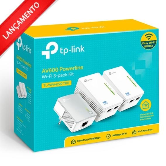 Extensor Powerline Av600 Tp-link Tl-wpa4220t Kit Triplo 4220