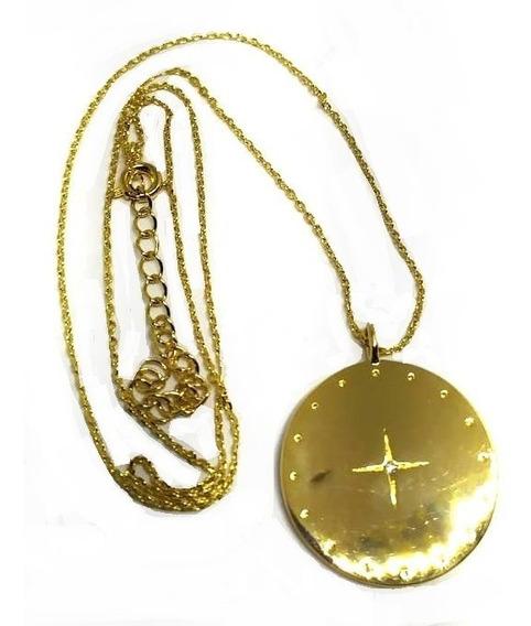 Jl8-colar Cruz Folh Ouro18k Zirconias Kessel
