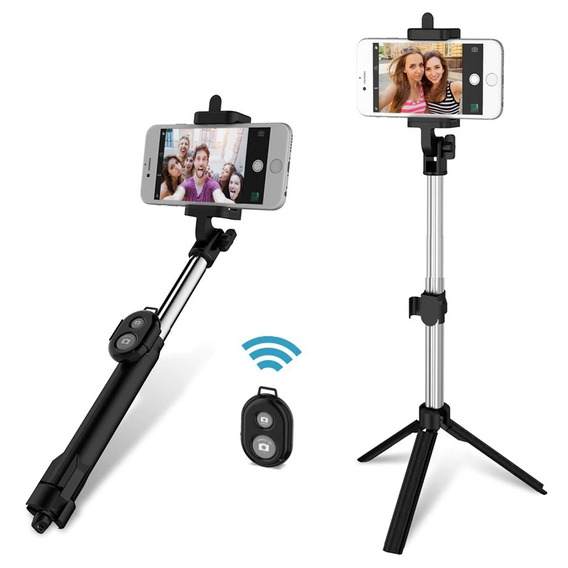 Selfie Stick 3en1 Extensible Trípode Con Obturador Bluetooth