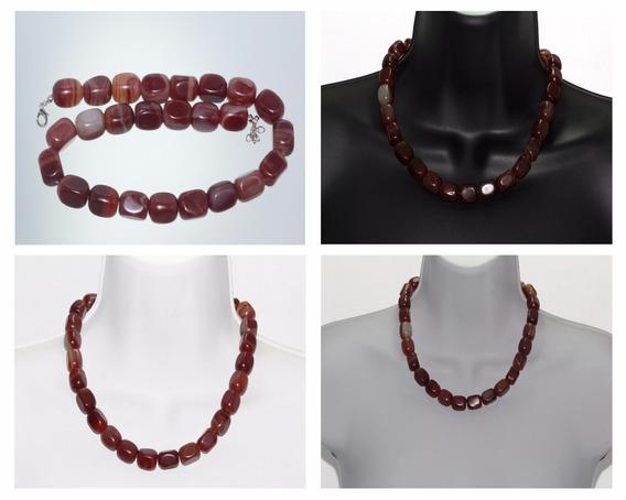 Collar Piedra Natural Joyería Dama Mujer Agata Rojiza Ccpn62