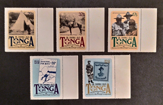 Tonga, Tema Scout, Yv 497/501, Mint Sobre Papel Soporte