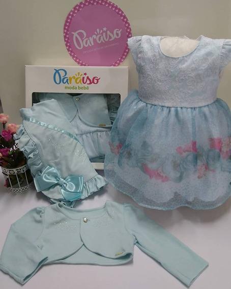 Saida De Maternidade Paraiso Bebê Menina Vestido Bolero 7988