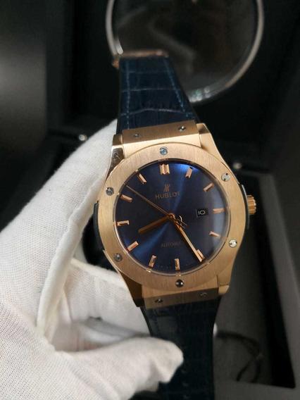 Relógio Modelo Classic Fusion Automático Rosé Fundo Azul