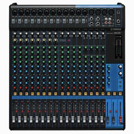 Mesa De Som Analógica Yamaha Mg20 Preta Com 20 Canais Pré