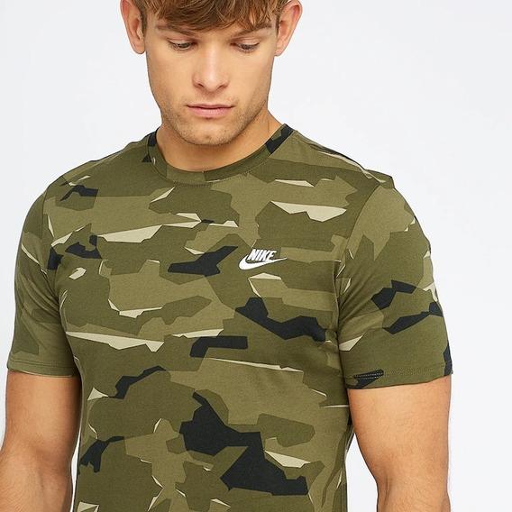 Remera Nike Camuflada Militar Oliva Talle L Athletic Cut