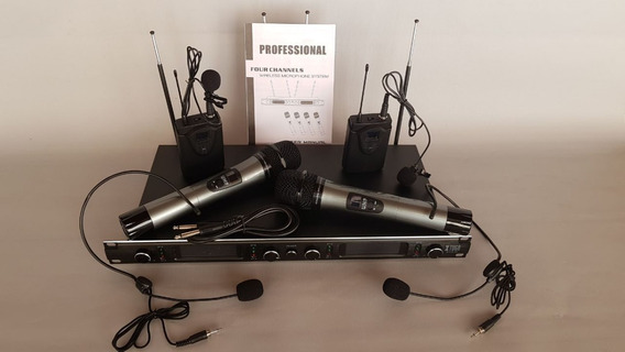Microfone S/ Fio Uhf 2 Punho+2 Lapel/headset Ñ Shure 4 Canal