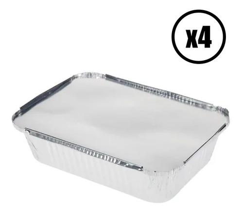 Set 4 Bandejas Aluminio 25x19cm