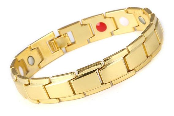 Pulseira Masculina Bracelete Magnético Dourada 20 Cm