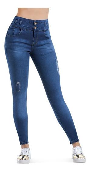 Jeans Colombiano Stretch 2 Botones Levanta Pompi Con Bolsas