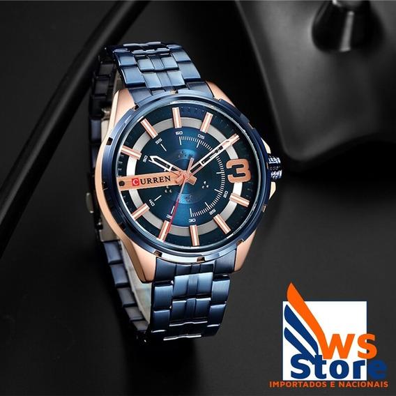Relógio De Luxo Masculino Dourado\azul