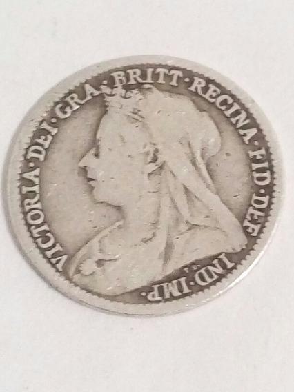3 Pence Reina Victoria 1898 Plata