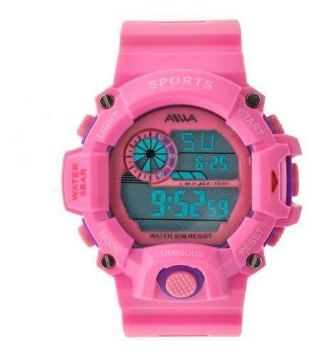 Reloj Mujer Sumergible Aiwa Deportivo Digital 5atm Luminous