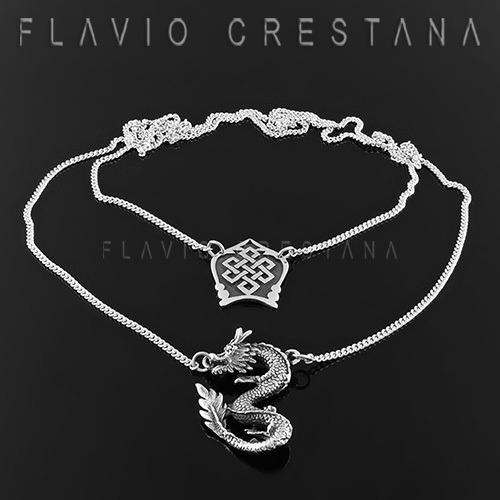 Colar Escapulario No Sem Fim E Dragao, Prata 925, 60cm, Fab