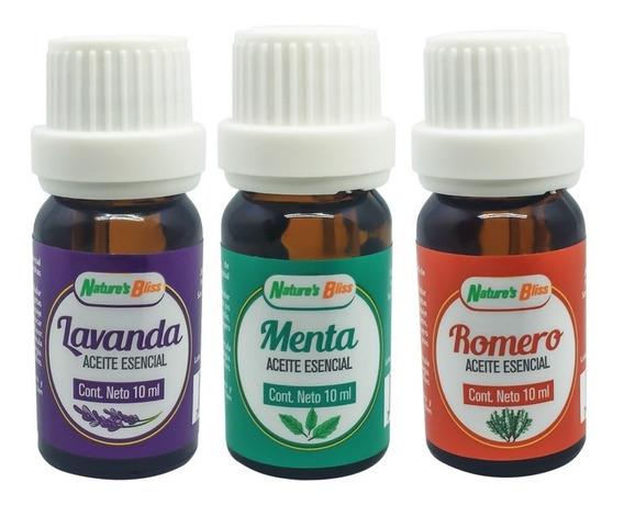 Aceite Esencial 3 Pack- Lavanda, Romero Y Menta - 10 Ml C/u