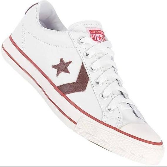 Tênis Converse Star Player Leather Branco Vermelho Original