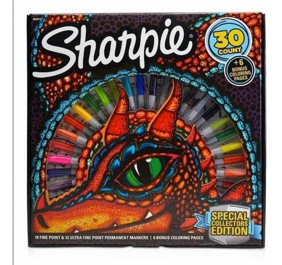 Marcadores Sharpie X 30 Dragón + 6 Láminas Para Pintar