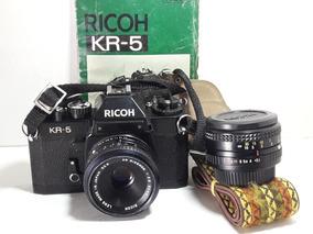 Câmera Analógica Ricoh Kr-5 35 Mm 2 Lentes 50-55, Com Manual