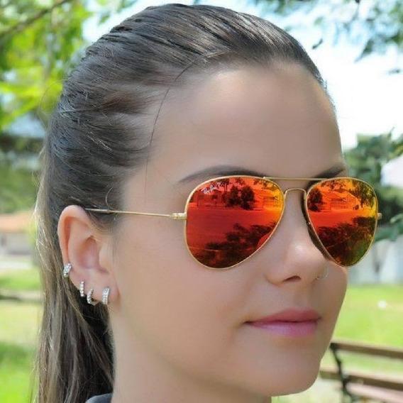 Óculos Ray Ban Aviador Rb 3026 Espelhado Vermelho