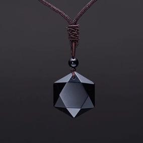 Colar Cordao Masculino Pingente Pedra Natural Obsidiana
