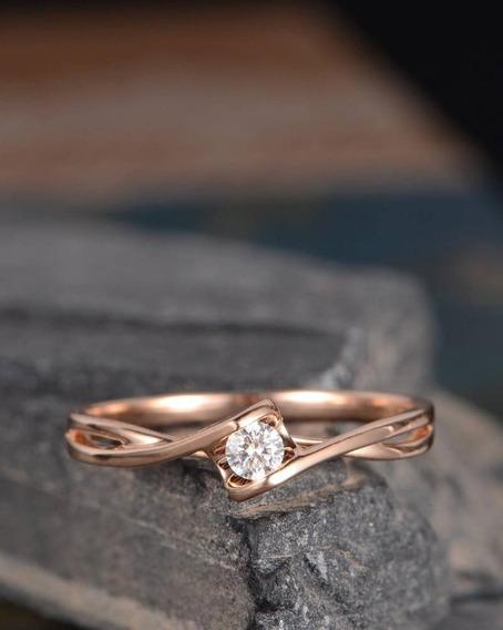 Anel Solitário Noivado Diamante Ouro 18k Branco Rosa Luxo
