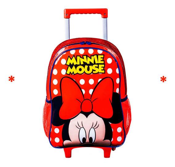 Mochila Infantil Escolar Mochilete Minnie Com Rodinhas