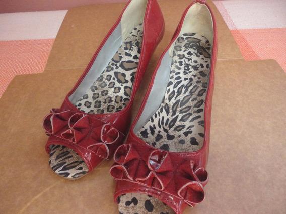 Sapatos Salto Bico Aberto Vermelho Tam. 39