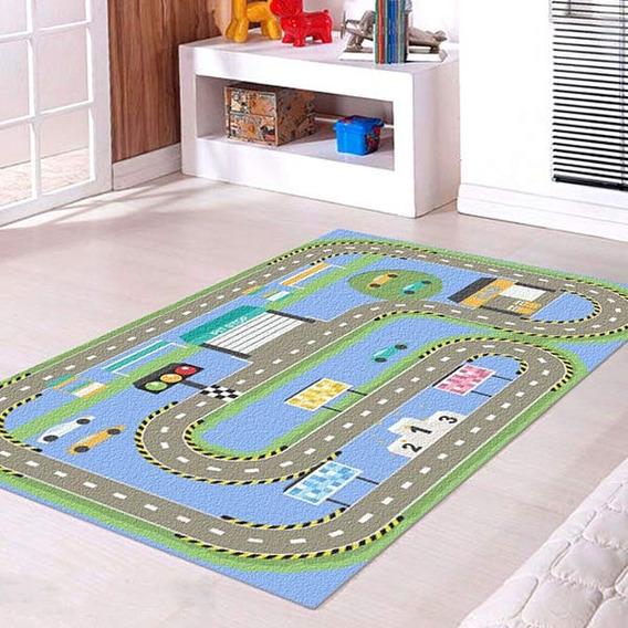Tapete Infantil Pista Carros 60x120   C Nome Personalizado