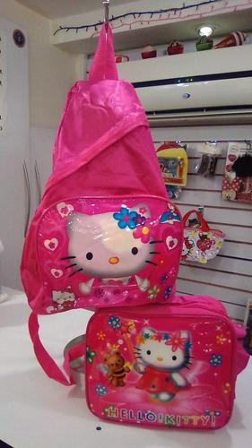 Imagen 1 de 4 de Bolso Morral  Hello Kitty+ Lonchera Termica