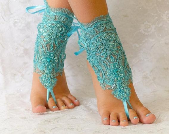 Sandália Casamento Praia Barefoot Pés Descalços Azul Tiffany