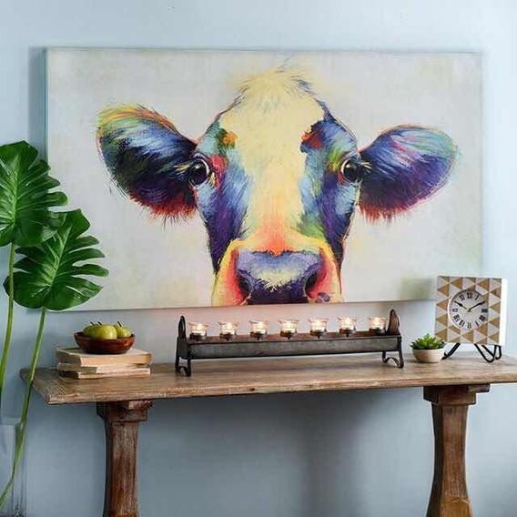 Cuadro De Vaca Moderno Pintado A Mano Texturdo Vegano Arte