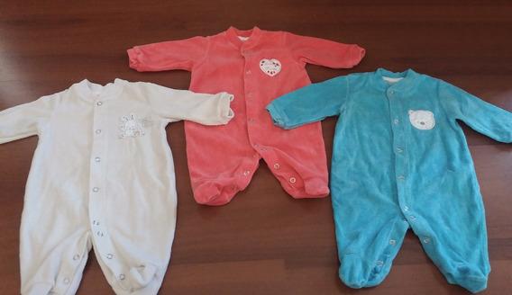 Trio De Macacões Em Plush Para Recém-nascido