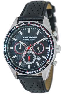 Reloj X-time 011 Cronometro Deportivo Cuero Sumergible Negro