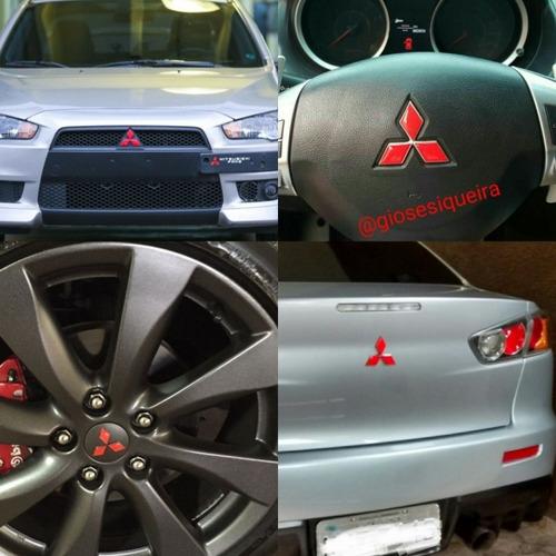 Imagem 1 de 1 de Combo Apliques Adesivos Vermelhos Lancer E Asx Emblemas Mit