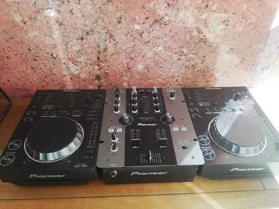 2 Cdj 350 + Mixer Djm 350, Kit Completo Pionner