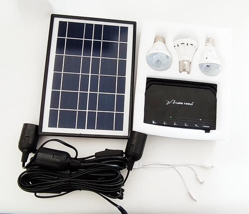 Imagen 1 de 4 de Kit Panel Solar Portatil 3 Focos  6w