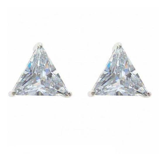 Brinco Masculino Prata 925 Pedra Zircônia Triangulo 1par 4mm