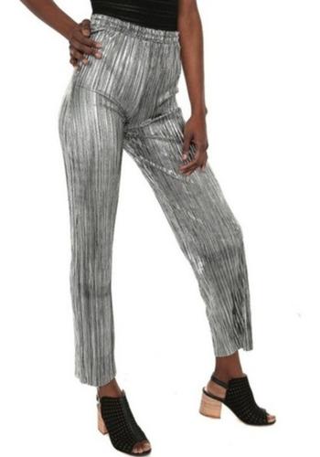 Pantalones Plateados Brillantes Tiro Alto Elegantes Mercado Libre