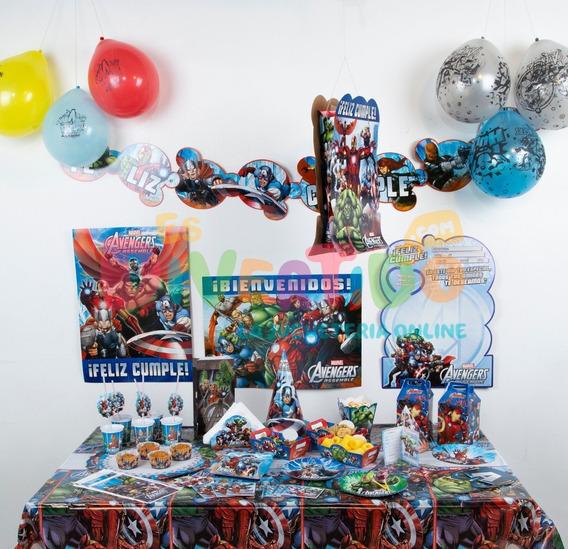 Combo Cotillón Fiesta Infantil Avengers Cumples X 30 Básico
