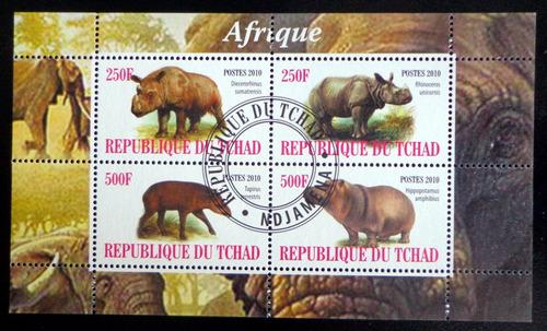 Tchad Rinocerontes Hipop., Bloque 4 Sellos 2010 Usado L7002
