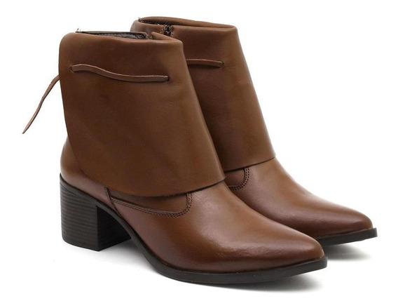 Bota Feminina Couro Ankle Boot Salto Quadrado Lapela