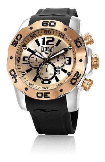 Relógio Pulso Everlast Masculino Cronografo Aço Preto E555