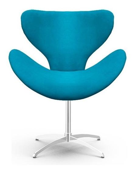 Poltrona Decorativa Mini Egg Elegance Azul Turquesa