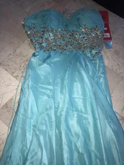 Oferta Vestido Largo Azul Claro Turquesa Elegante Graduación